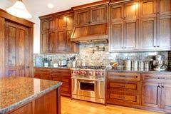 豪华松木美丽的自定义厨房 免版税图库摄影