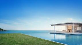 豪华海滨别墅和海在空的草地板甲板附近观看游泳池在现代设计、别墅或者旅馆大家庭的 库存图片