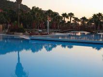 豪华游泳池和棕榈在太阳的热带旅馆里 库存图片