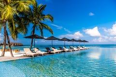 豪华游泳池边和海滩在马尔代夫 蓝天和惊人的无限水池和软的波浪 暑假和假日背景 免版税库存图片