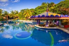 豪华游泳池风景在墨西哥 免版税图库摄影