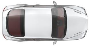 豪华炫耀小轿车车的顶视图 免版税库存照片