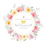 豪华狂放上升了,兰花、康乃馨、桃红色花、蓝色莓果和玉树叶子圆的传染媒介框架 库存图片