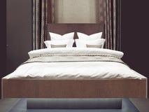 豪华现代日本式卧室,旅馆卧室的内部 免版税图库摄影