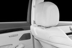 豪华现代汽车的白革内部 皮革舒适的白色位子和多媒体 专属木头和金属decorati 免版税库存照片