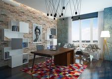 豪华现代家庭办公室。 库存图片