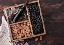 豪华瓶红酒和空的玻璃用黑暗的葡萄与黄柏和拔塞螺旋在葡萄酒木箱里面在黑暗木 库存照片