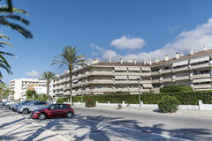 豪华白色旅馆外部在西班牙 免版税库存图片