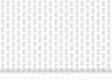 豪华白色长方形形状样式墙壁背景的例证与反射的在地板上 免版税库存照片