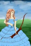 豪华的礼服射箭的微笑美丽的女孩户外 免版税库存图片