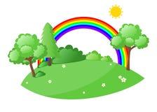 豪华的绿色自然动画片风景 免版税图库摄影