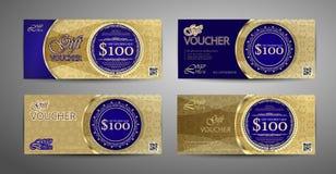 豪华礼券模板收藏 套蓝色和金优惠券模板 向量 皇族释放例证