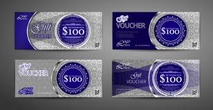 豪华礼券模板收藏 套蓝色和银优惠券模板 向量 皇族释放例证