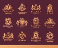 豪华精品店皇家冠优质葡萄酒产品纹章商标汇集品牌身份传染媒介例证 皇族释放例证