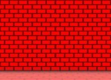 豪华红颜色砖的例证阻拦与反射的墙壁背景在地板上 免版税库存照片