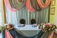 豪华装饰了婚姻的桌 库存图片