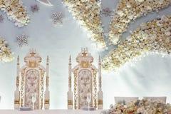 豪华装饰了新娘和新郎的焦点与八仙花属 库存图片