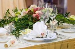 豪华设置表婚礼 免版税图库摄影