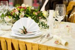 豪华设置表婚礼 库存图片