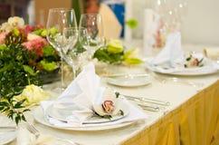 豪华设置表婚礼 免版税库存照片