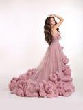 豪华豪华的桃红色礼服的美丽的夫人 深色的方式发型构成妇女 库存图片