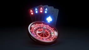豪华赌博娱乐场轮盘赌的赌轮和四张一点现实啤牌的卡片3D - 3D例证 库存例证