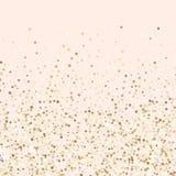 豪华金黄五彩纸屑,金闪烁的背景,脸红桃红色和金五彩纸屑 库存例证