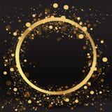豪华金黄闪闪发光背景,闪烁边界、圈子框架黑色和金黄传染媒介光亮尘土 向量例证