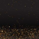 豪华金黄闪闪发光背景,闪烁魔术发光 黑色和金子导航与bokeh的光亮尘土 皇族释放例证