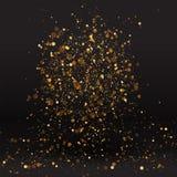 豪华金黄闪闪发光背景,闪烁魔术发光 黑色和金子导航与bokeh的光亮尘土 向量例证
