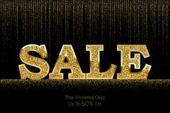 豪华销售横幅模板 导航在金黄闪烁多雨背景的金黄销售词 图库摄影