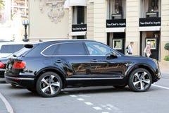 豪华黑色SUV本特利Bentayga在摩纳哥 库存图片