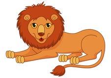 豪华说谎与蓬松的可笑的动画片狮子 免版税库存照片
