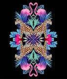 豹子、火鸟和热带植物时髦镜子打印 向量例证