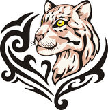 豹子纹身花刺 免版税库存图片