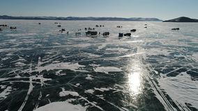 贝加尔湖冰湖熔化的冬天 股票视频