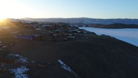 贝加尔湖冰湖熔化的冬天 股票录像