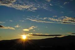 贝加尔湖北部日落 库存照片