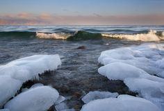 贝加尔湖湖冬天 库存照片