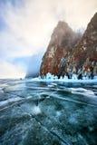 贝加尔湖湖冬天 免版税库存图片