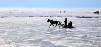 贝加尔湖湖冬天 库存图片