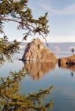 贝加尔湖神圣湖的岩石 免版税图库摄影