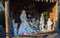 贝加莫意大利 圣诞老人露西娅` s小屋在圣诞节时间 库存照片