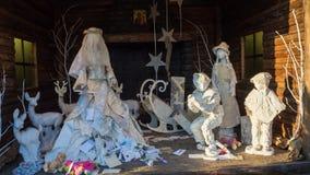 贝加莫意大利 圣诞老人露西娅` s小屋在圣诞节时间 免版税库存照片