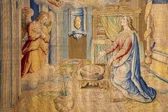 贝加莫-通告壁饰挂毯在教会圣塔玛丽亚Maggiore里 免版税库存图片