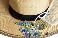 贝壳,在夏天草帽背景的sunbeds,隔绝,定调子与阳光 背景更多我的投资组合旅行 库存图片