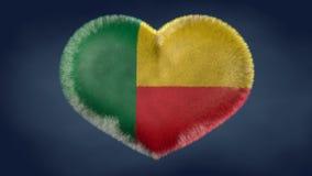 贝宁的旗子的心脏 库存图片