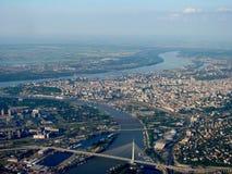 贝尔格莱德全景有河的Sava和多瑙河 免版税库存图片
