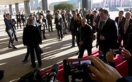 贝尔格莱德塞尔维亚 2019年1月17日 俄罗斯联邦的弗拉基米尔・普京总统,正式访问的向贝尔格莱德,塞尔维亚 免版税图库摄影
