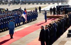 贝尔格莱德塞尔维亚 2019年1月17日 俄罗斯联邦的弗拉基米尔・普京总统,正式访问的向贝尔格莱德,塞尔维亚 库存照片